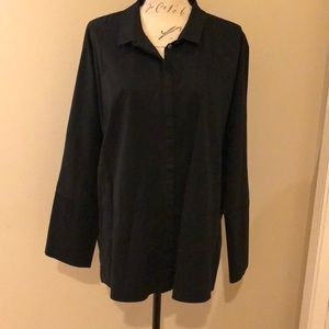 Marla Wynne Oversized black cotton blend shirt 1X